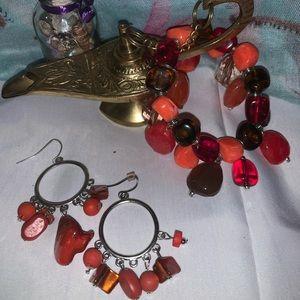 Orange, Brown, & Amber Bracelet & Earrings